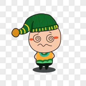 卡通绿帽子小人晕头表情图片