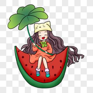 坐在西瓜上的女孩图片