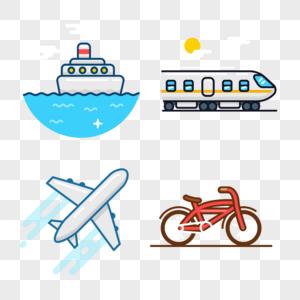 交通工具图标免抠矢量插画素材图片