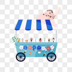 夏日冰淇凌小吃车图片