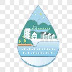 世界环境日矢量水滴生态系统图片