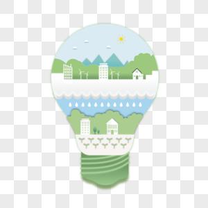 世界环境日电灯生态系统矢量素材图片