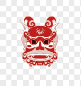 红色诡丽傩族祭典面具装饰插画图片