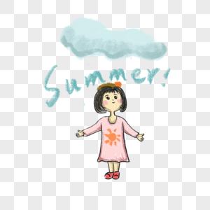 夏天小女孩遇到下雨图片