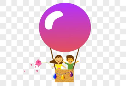 站在热气球上的男孩和女孩图片