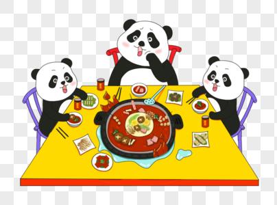 可爱熊猫吃火锅图片