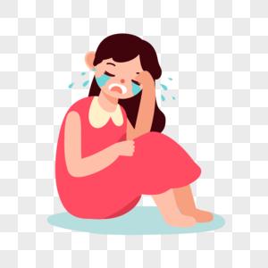 哭泣女孩图片