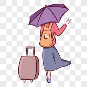 挥手告别背影拖着行李箱离开图片