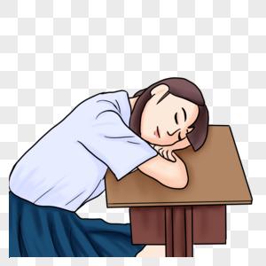趴在课桌上睡觉的女生图片