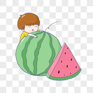吃西瓜的男孩图片