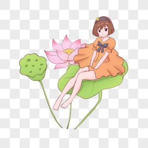 夏至荷花荷叶美女插画图片