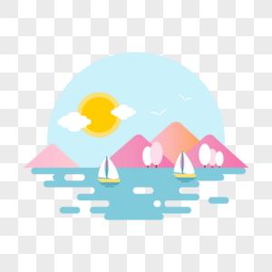 扁平风山峦湖泊风景插画图片