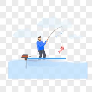 钓鱼图标免抠矢量插画素材图片