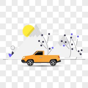 皮卡车图标免抠矢量插画素材图片