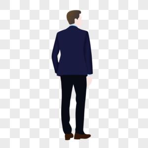 扁平男性背影图片