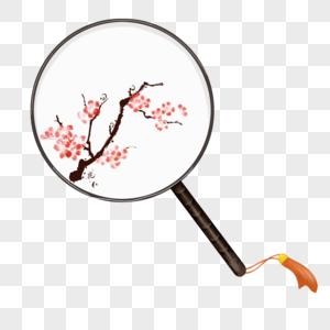 手绘中国风梅花扇子图片