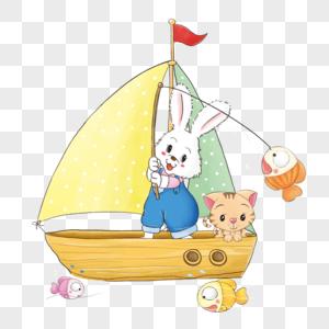 小兔和小猫钓鱼图片