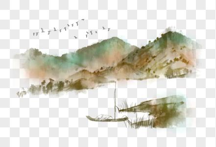 中国风水墨山水渔船图片