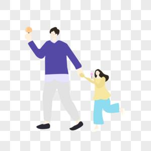 老爸牵手女儿吃冰淇淋形象图片
