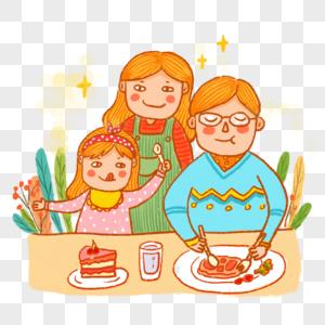 正在吃饭的一家人图片