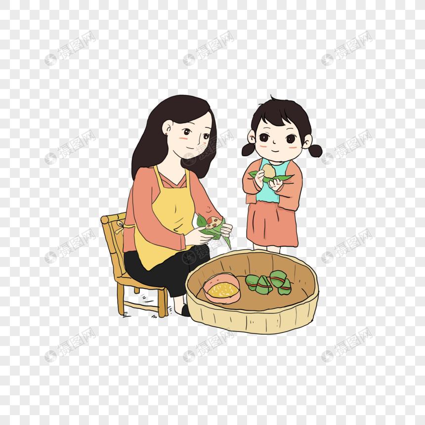 包粽子的母女图片