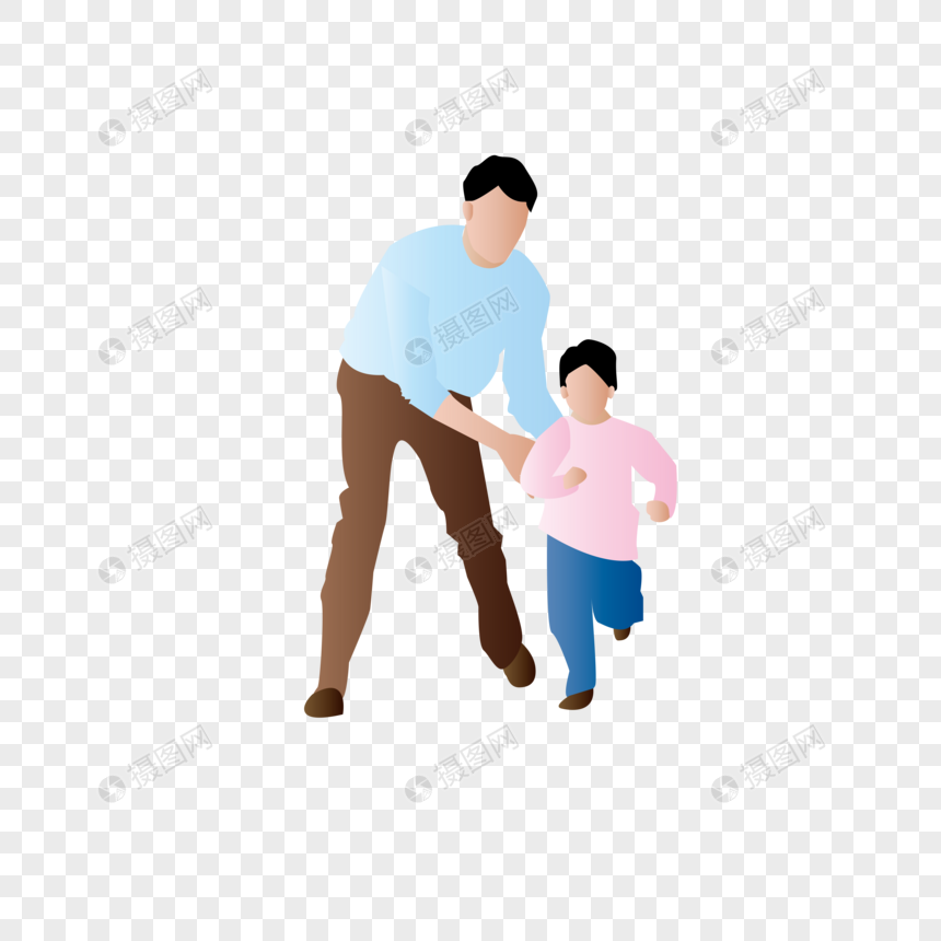 AI矢量图平面扁平化人物父子互动父与子父爱图片
