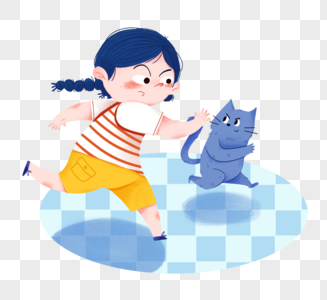 儿童节小女孩和小猫在玩耍图片