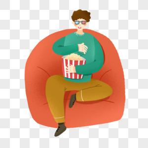 看电影吃爆米花的男青年图片