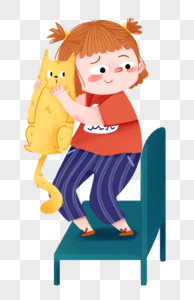 小女孩和猫站在椅子上图片