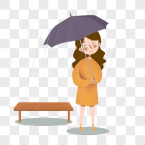 女孩打伞图片