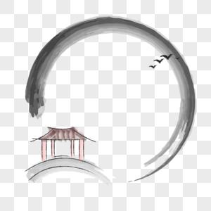 中国风水墨淡彩手绘小亭子边框图片