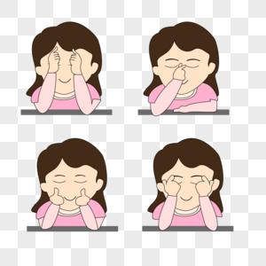 眼保健操视力手绘插画图片