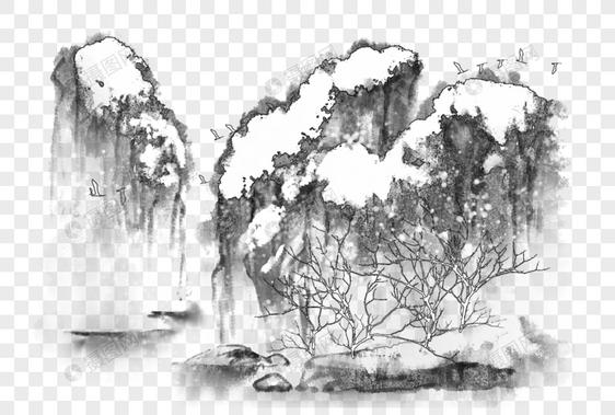 中国风写意水墨山水雪景图片