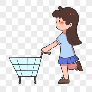 推购物车的女孩图片