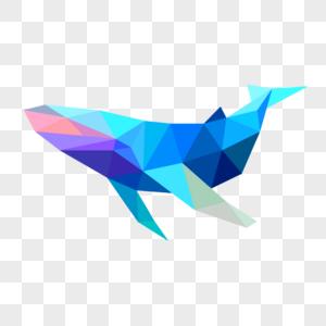 晶状蓝色鲸鱼侧面卡通图片