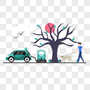 新能源车辆充电图标免抠矢量插画素材图片