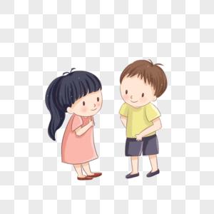 儿童节一个男孩和女子站在路边聊天卡通手绘装饰图片