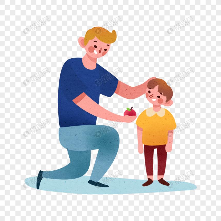 手绘父子图片