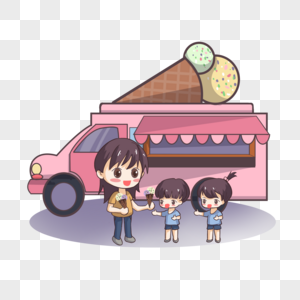 帮孩子买冰激凌的妈妈图片