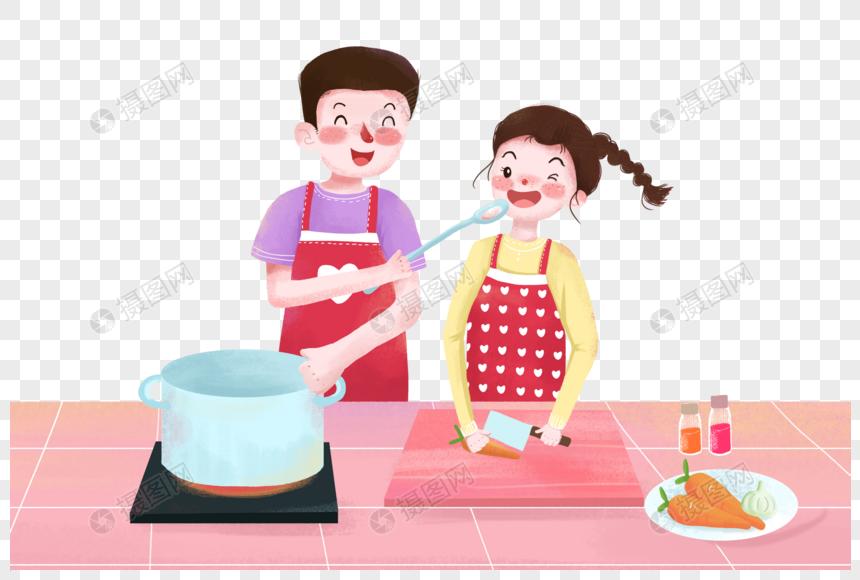 做饭的情侣图片