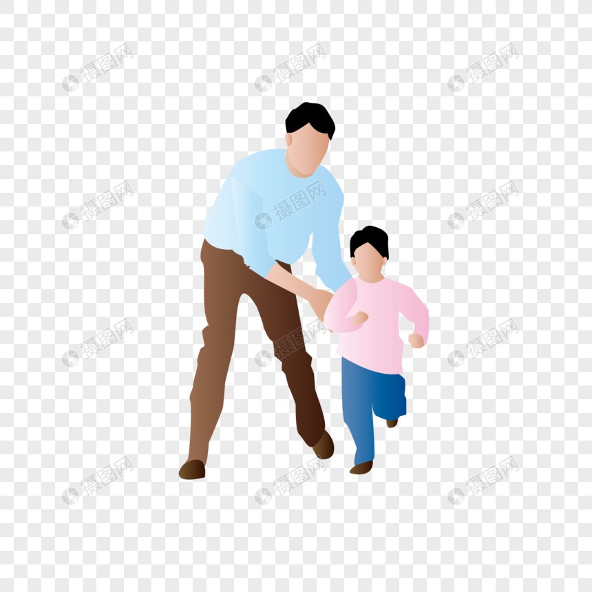 AI矢量图扁平化人物父子互动父与子玩耍图片
