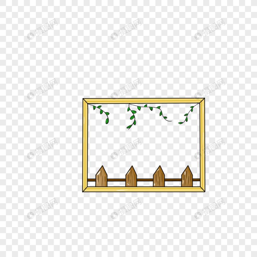 木栅栏树叶边框图片