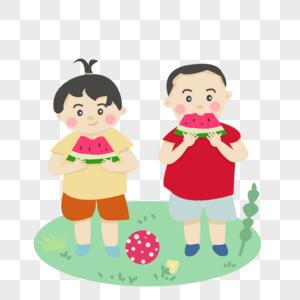 两个小朋友吃西瓜图片