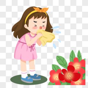 花粉过敏打喷嚏的小女孩图片