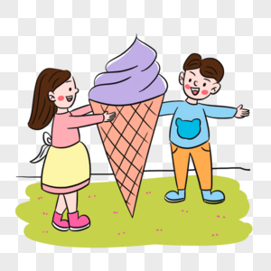 清爽夏天小伙伴吃冰淇淋场景图片