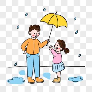 温馨雨天爸爸撑伞场景图片