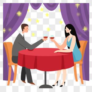 浪漫的约会晚餐图片