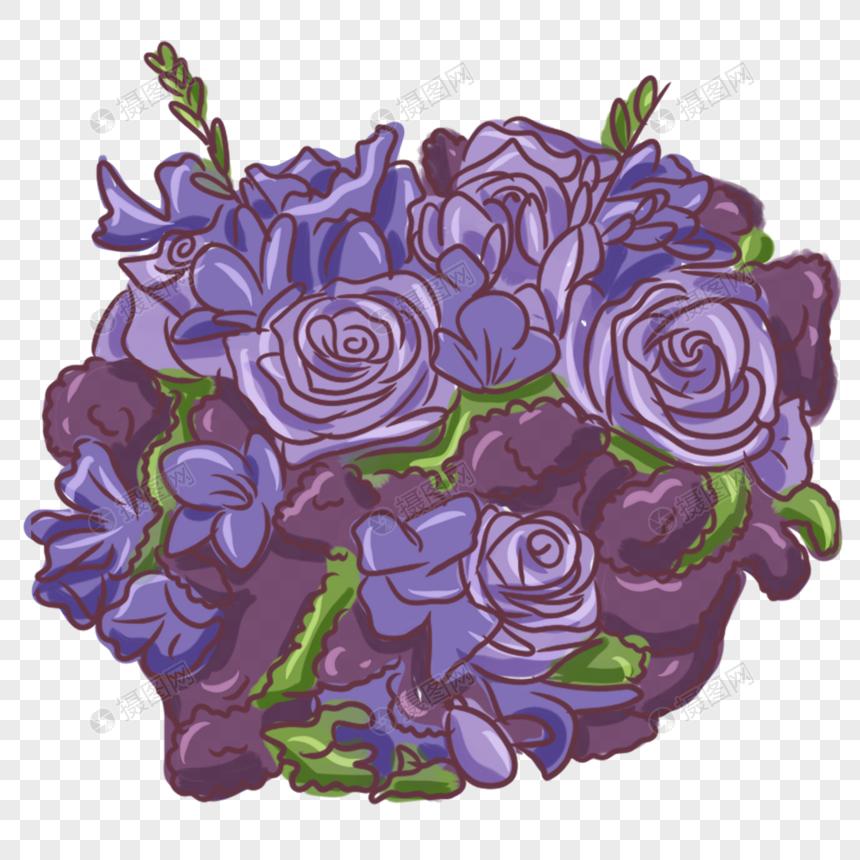节日紫色一簇鲜花手绘装饰图片