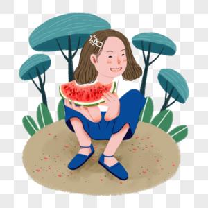 可商用扁平卡通夏天小孩吃西瓜矢量元素图片