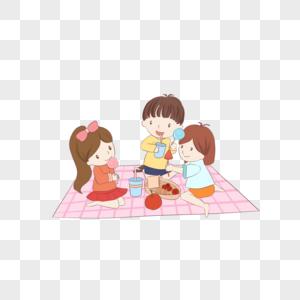 儿童节坐在格子餐布上吃东西的三个小孩图片